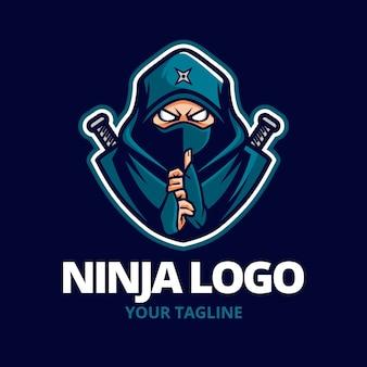 Modelo de logotipo ninja com detalhes