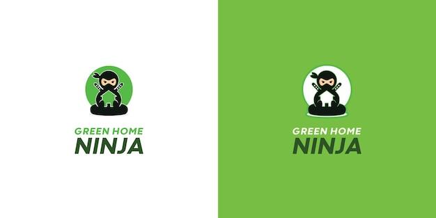Modelo de logotipo ninja de design plano vetor grátis