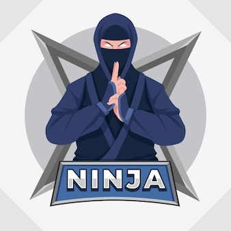 Modelo de logotipo ninja de design plano