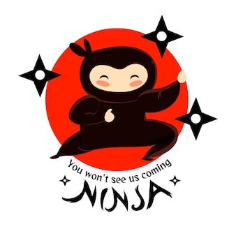 Modelo de logotipo ninja detalhado