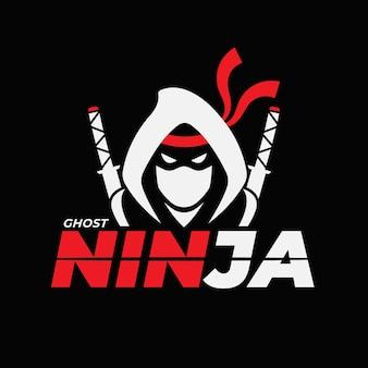 Modelo de logotipo ninja em design plano