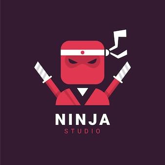 Modelo de logotipo ninja em estilo simples