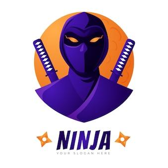 Modelo de logotipo ninja em gradiente