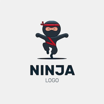 Modelo de logotipo ninja plano linear