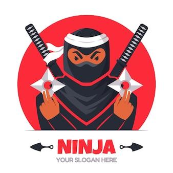 Modelo de logotipo ninja plano