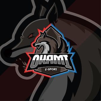 Modelo de logotipo okami esport