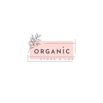 Modelo de logotipo orgânico com folhas