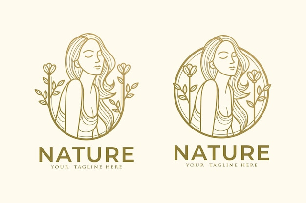 Modelo de logotipo ouro da natureza da borboleta