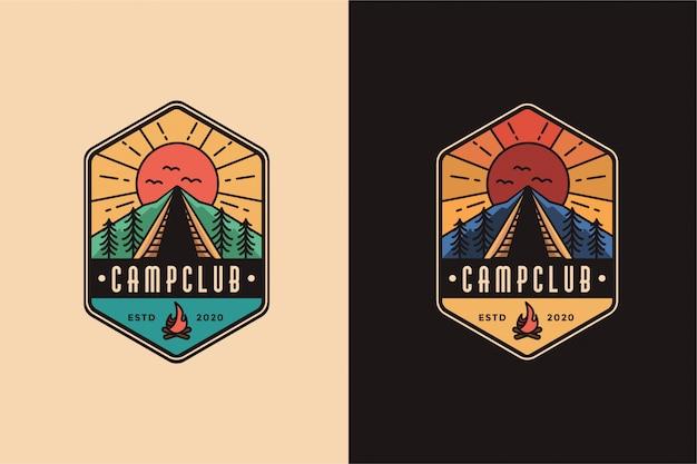 Modelo de logotipo para acampamento ao ar livre