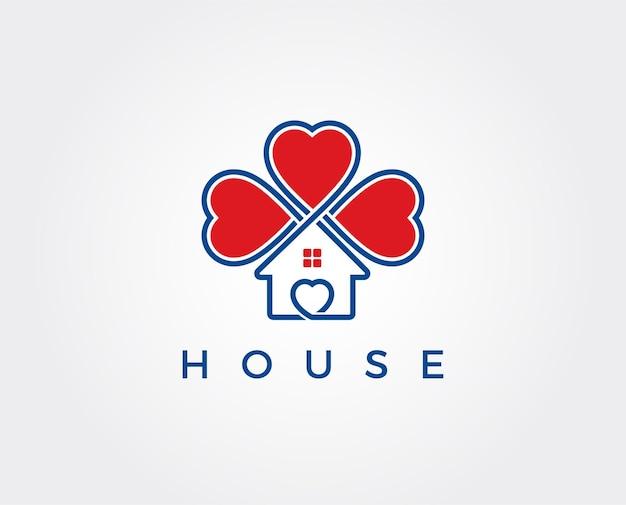 Modelo de logotipo para casa de amor
