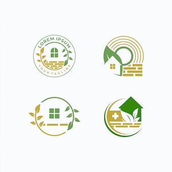 Modelo de logotipo para casa e árvore
