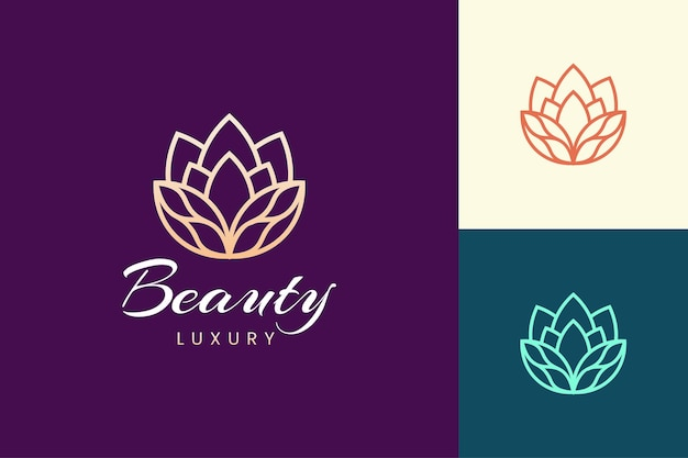 Modelo de logotipo para cosméticos e produtos para a pele em formato de flor de luxo