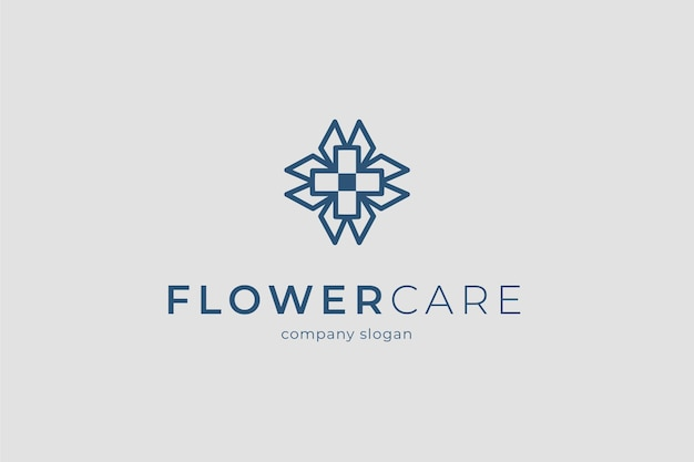 Modelo de logotipo para cuidados com flores