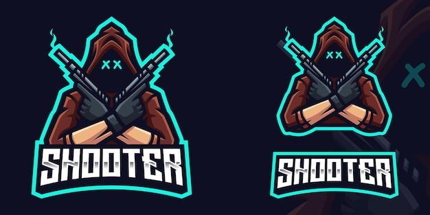 Modelo de logotipo para jogos shooter holding gun mascot para esports streamer facebook youtube