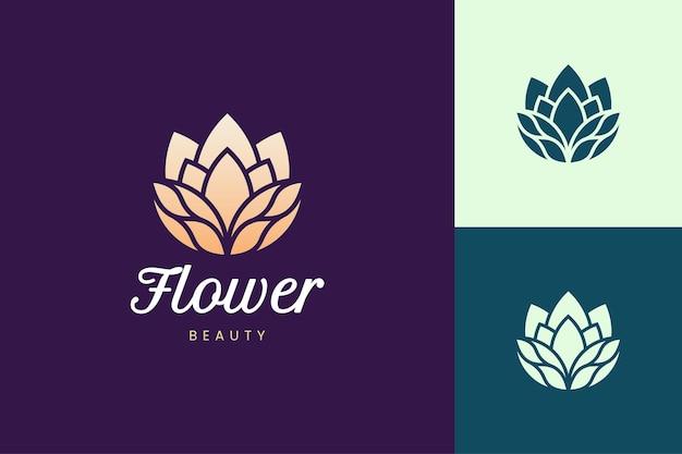 Modelo de logotipo para maquiagem ou cuidados com a pele em forma de flor abstrata e luxuosa