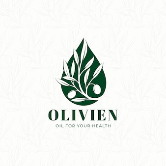 Modelo de logotipo pingando óleo de ramo de oliveira