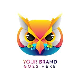 Modelo de logotipo plana coruja