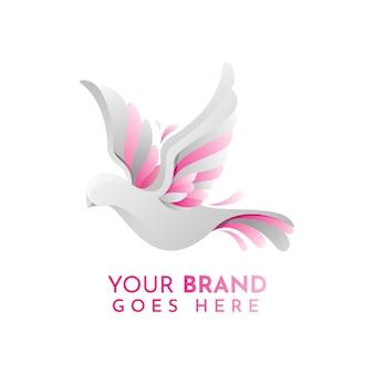 Modelo de logotipo plano animal pomba