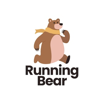 Modelo de logotipo plano de urso em execução