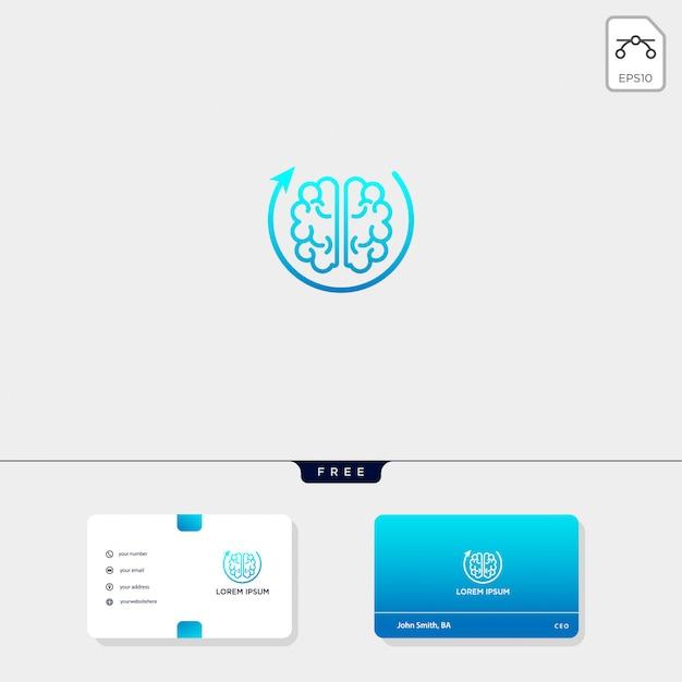 Modelo de logotipo premium cérebro, modelo de cartão de visita incluem