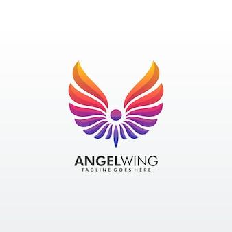 Modelo de logotipo premium colorido asa abstrata