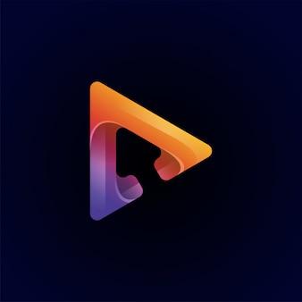 Modelo de logotipo premium de vídeo colorido incrível