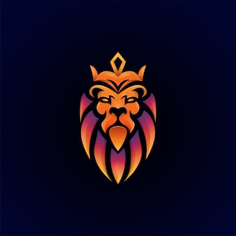 Modelo de logotipo premium impressionante leão colorido
