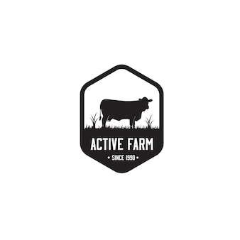 Modelo de logotipo preto fazenda