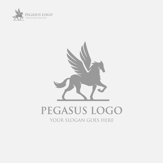 Modelo de logotipo preto pegasus de luxo