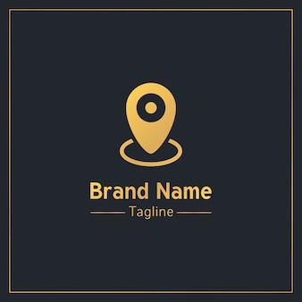Modelo de logotipo profissional dourado de pino de localização