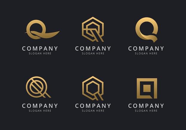 Modelo de logotipo q iniciais com uma cor dourada para a empresa