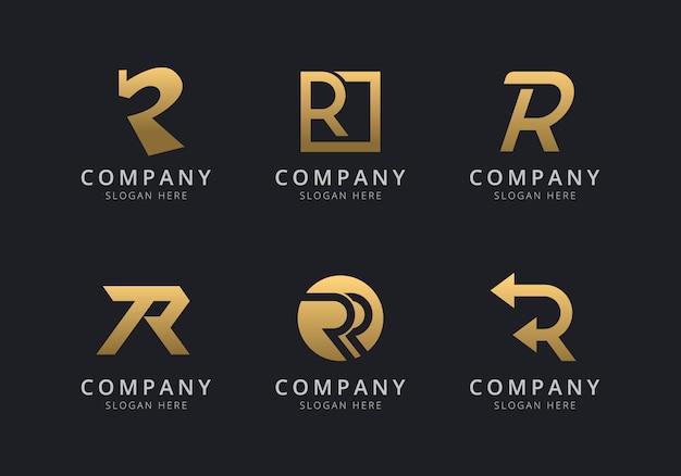 Modelo de logotipo r iniciais com uma cor dourada para a empresa