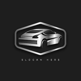 Modelo de logotipo realista carro metálico