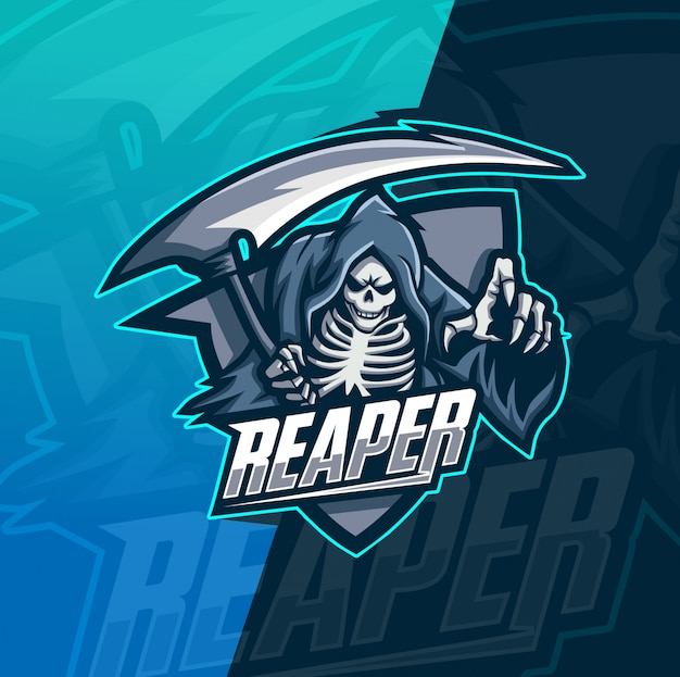 Modelo de logotipo reaper crânio mascote esport