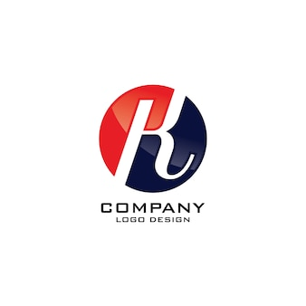 Modelo de logotipo redondo abstrato símbolo k