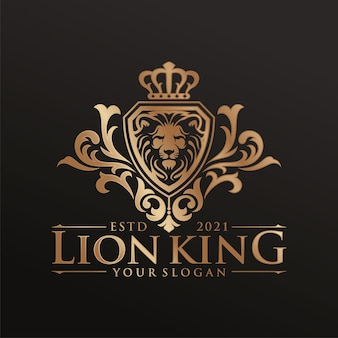 Modelo de logotipo rei leão de luxo