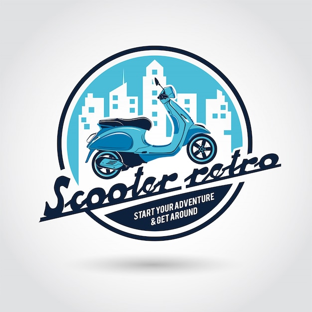 Modelo de logotipo retrô de scooter.