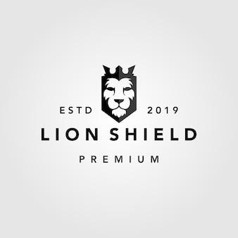 Modelo de logotipo retro vintage de coroa de escudo de leão