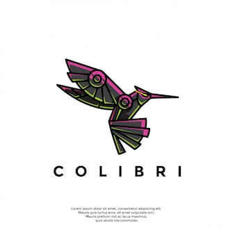 Modelo de logotipo robótico beija-flor exclusivo