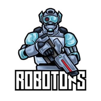 Modelo de logotipo robotops robot esport