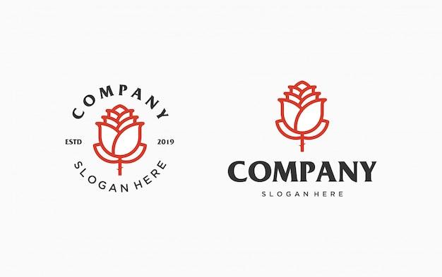 Modelo de logotipo rosa vermelha. linha rosa vermelha logotipo