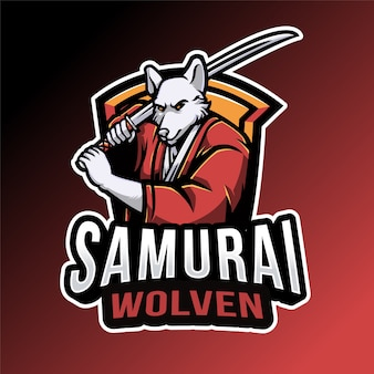 Modelo de logotipo samurai wolven