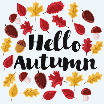 Modelo de logotipo, silhueta de carimbo olá, outono. textura laranja em aquarela. .