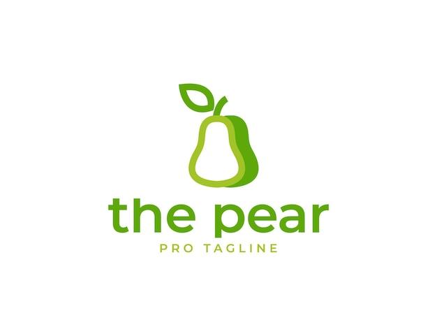Modelo de logotipo simples de frutas verdes de pêra fresca