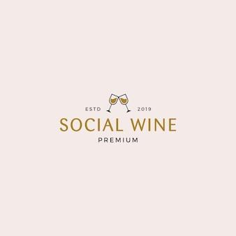 Modelo de logotipo social de vinho