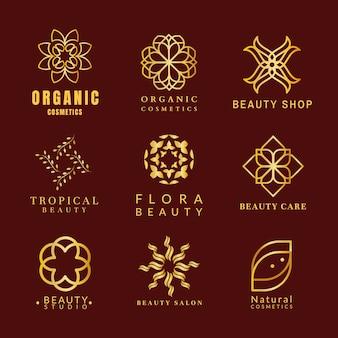 Modelo de logotipo spa dourado, design de luxo de bem-estar para conjunto de vetores de negócios de saúde e bem-estar