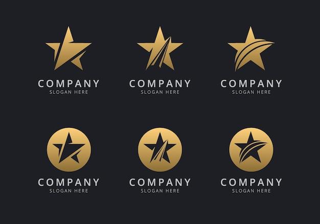 Modelo de logotipo star com estilo dourado para a empresa