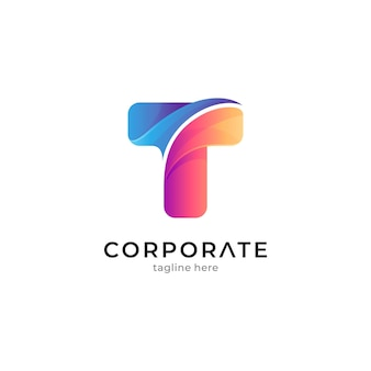 Modelo de logotipo t colorido gradiente pronto para uso
