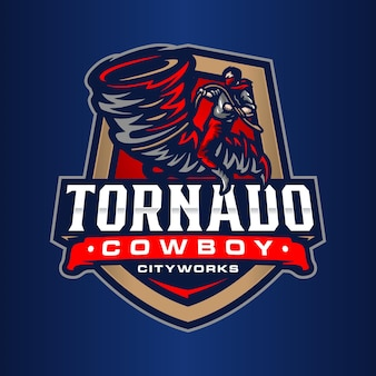 Modelo de logotipo tornado cowboy