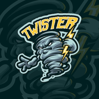 Modelo de logotipo twister mascot
